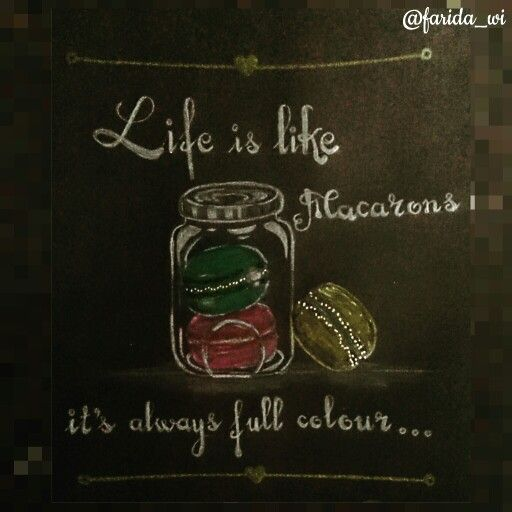 #quotes #macarons #coloredpencils #onblackpaper