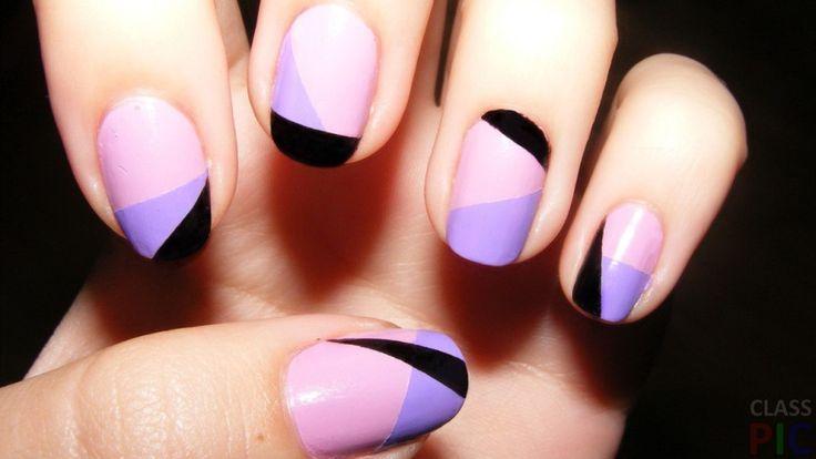 Трехцветный дизайн ногтей