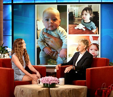 Megan Fox shared pictures of her sons Bodhi, 19 months, and Bodhi, 2 months, on Ellen's show!