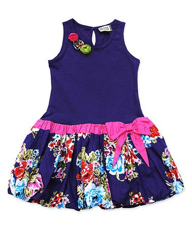 Look what I found on #zulily! Purple & Red Floral Bubble Dress - Infant, Toddler & Girls #zulilyfinds