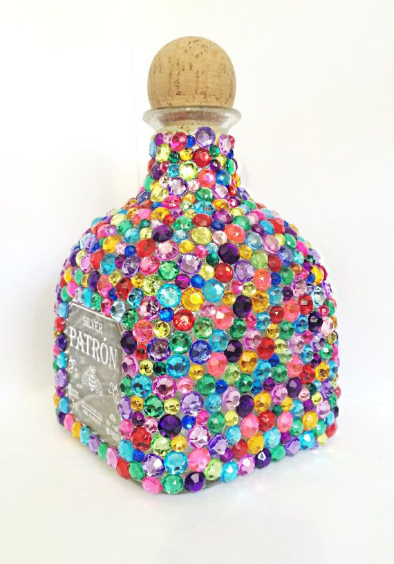 Embellished Rhinestone Patron Bottle, Home Decor, Decanters, Birthday Gift, Patron