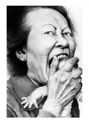 """Laurie Lipton - LOVE BITE - Pencil sketch - This image is evocative of Grimm's fairy tales where the children are eaten by the witch, or Goya's """"Saturn Eating His Children"""". It is the nightmare fear that every infant feels when an Aunt leans over, pinches his cheek, licks her lips and exclaims, """"Oh! I could just EAT you!!!""""   It is certainly a work that strikes a chord with everyone and seeps its way into the darkest recesses of our subconscious minds."""