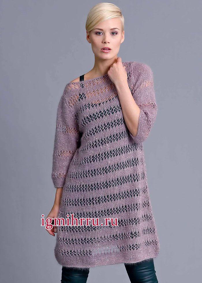 Сиреневое платье с ажурными полосами. Вязание спицами