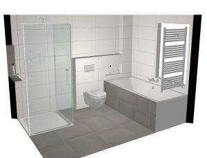 3D tekening badkamer, eenvoudig in verschillende opstellingen weer te geven.