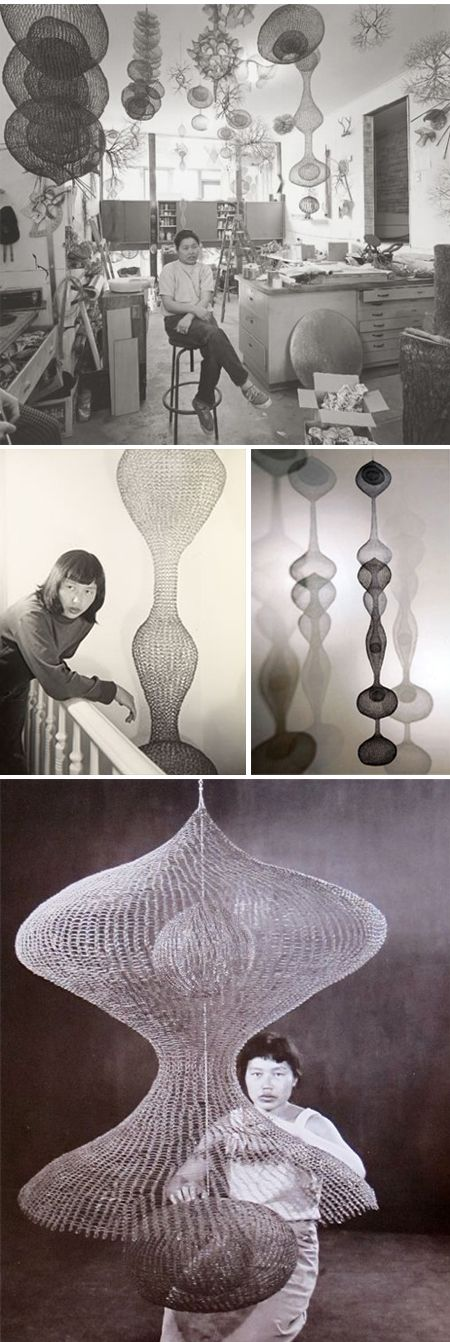 ruth asawa--I have always loved her pieces, and even more seeing her interacting with them.