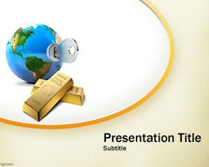 Gold business PowerPoint template for investment and online security projects