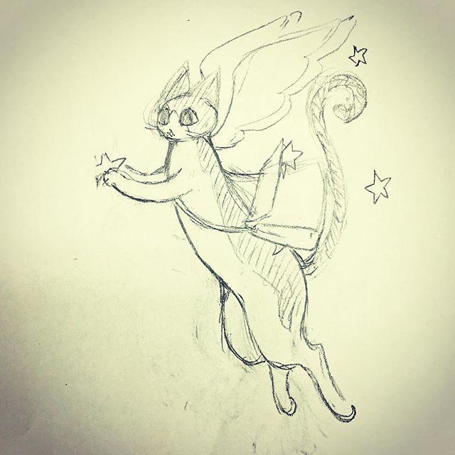 「かぎしっぽのタマ・幸せの星を配って回る」クリスマスが近いのでクリスマスバージョンの絵。ラフです(^ ^) #イラスト #illustration #猫 #cat #drawing #鉛筆 #ラフ #かぎしっぽのタマ #クリスマス #もとpfukudamotoko2017/12/05 11:18:11