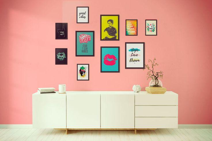 Composição de quadros coloridos e com design moderno criativo <3