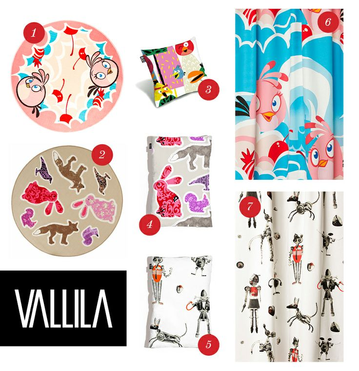 "Present ideas for the kidsroom from Vallila!  1. Angry Birds ""Stella"" rug  2. ""Pihajengi"" rug  3. Angry Birds ""Forest"" cushion cover 4. ""Pihajengi"" cushion cover 80x60cm 5. ""Romulus"" cushion cover 80x60cm  6. Angry Birds ""Stella"" curtain 7. ""Romulus"" curtain."
