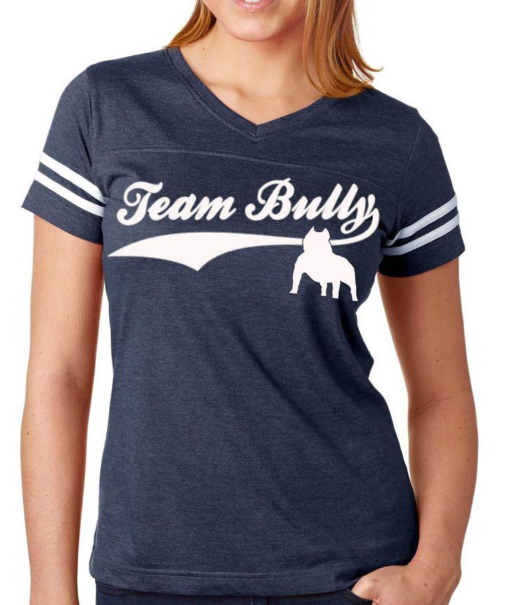 Team Bully Football Jersey V Neck Tee Women'S American Bully Shirt Sizes Sm-2X
