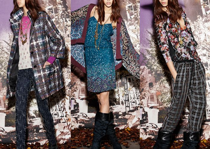 Nicole Miller – Pre Fall 2014- Plaid and Floral Combinations – Geometric Embellishment – Native Funk & Flash Inspiration – Indian Embroidery – Crazed texture with Soft Plaid – Dip Dye – Boho Pattern Mixes