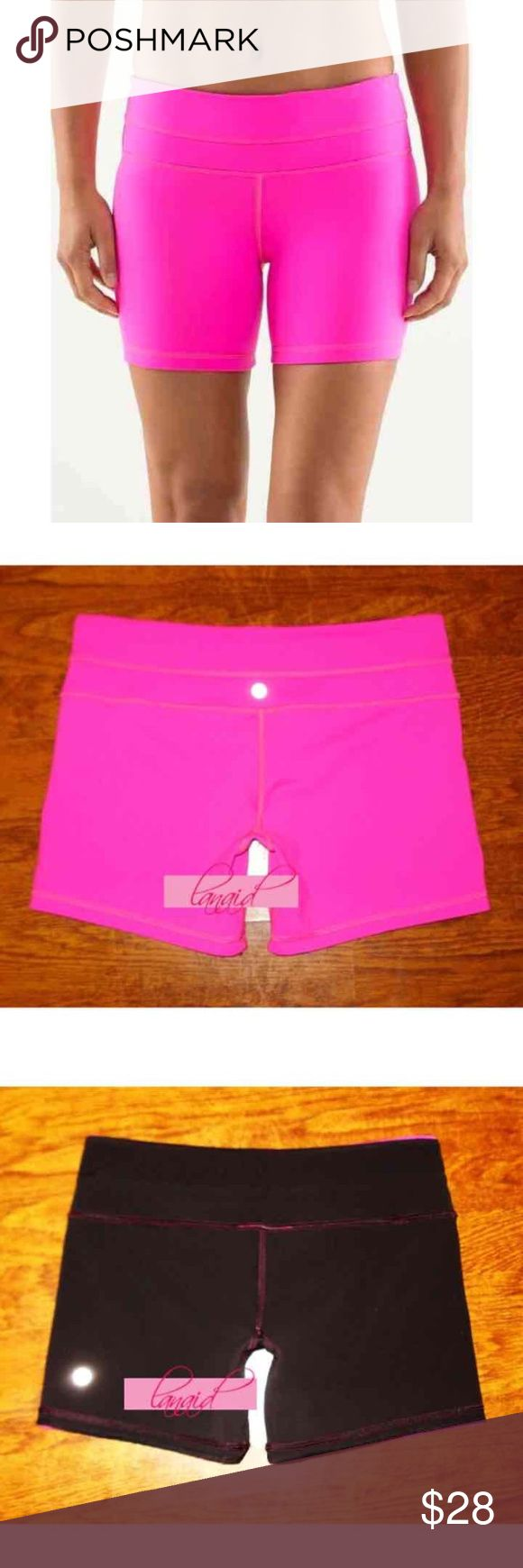 Lululemon Reversible Groove Shorts Hot Pink Black ➡️PRICE IS FIRM AND NON-NEGOTIABLE. NO OFFERS. NO TRADES.⬅️ Lululemon Reverse Groove shorts in Raspberry Glo/Black. Only worn once. Reverses from hot pink to black--two looks in one! Second-skin fit with a four-way stretch. Made with Full-On Luon® for incredible support and coverage with a cottony-soft feel. These were made without a size dot, but they're a size 4, as stated on the tag before it was removed. lululemon athletica Shorts