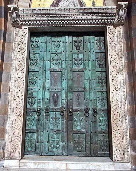 Amalfi, Cathedral of St. AndrewThe Doors, Bronze Doors, Metals Doors, Amalfi Coast, Old Church, Turquoise Doors, Old Wood, Italian Church, Iron Doors