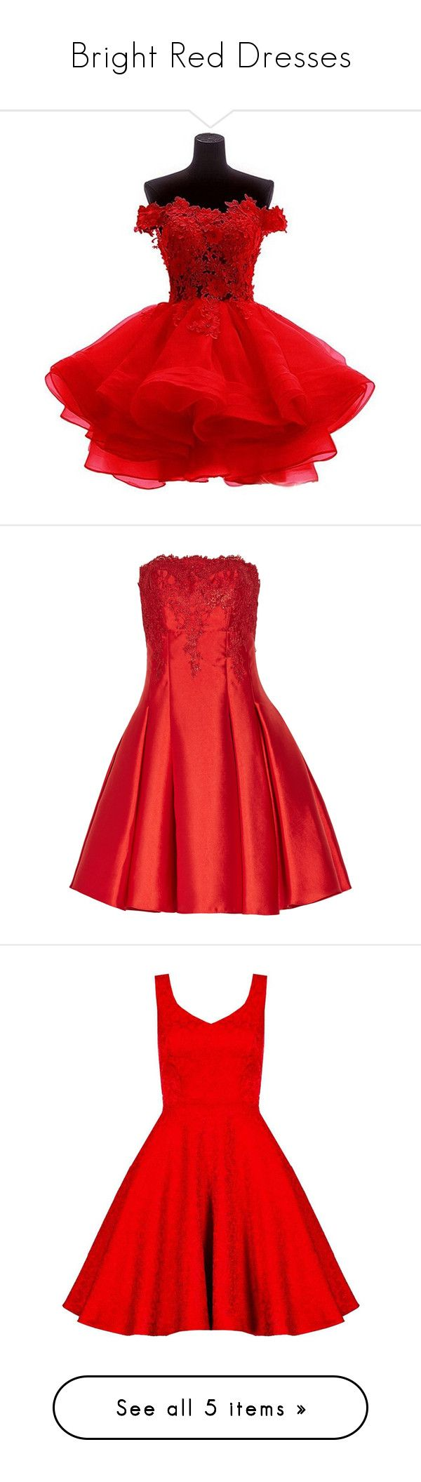 """Bright Red Dresses"" by tegan-b-riley on Polyvore featuring dresses, red lace dresses, lace cocktail dresses, red lace cocktail dress, beaded prom dresses, off-the-shoulder lace dresses, red, strapless cocktail dresses, lace overlay dress and lace dress"