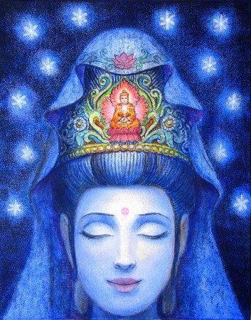 Stampa di poster di Kuan Yin meditazione Buddha arte spirituale buddista Zen dea della pittura di Sue Halstenberg