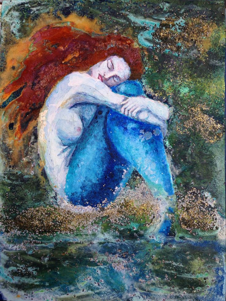 my little sad mermaid (acryl/rust) sold