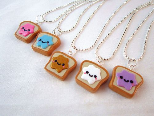 polymer clay charms | Best Friends Kawaii Peanut Butter and Jelly Toast Polymer Clay Charms ...
