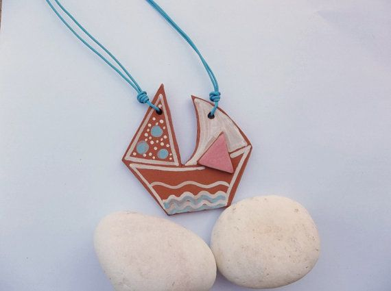 Little Boat terracotta necklaceFREE SHIPPING by IoannasVeryCHic
