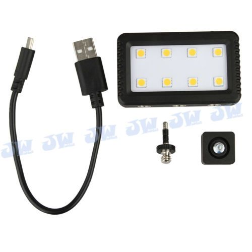JJC-Mini-Adjustable-LED-Light-with-2-Adapters-for-Camera-Camcorder-Cellphone