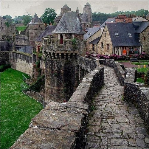 Castle Rampart, Fougeres,France. I've been to France multiple times, but sure wouldn't mind going back.