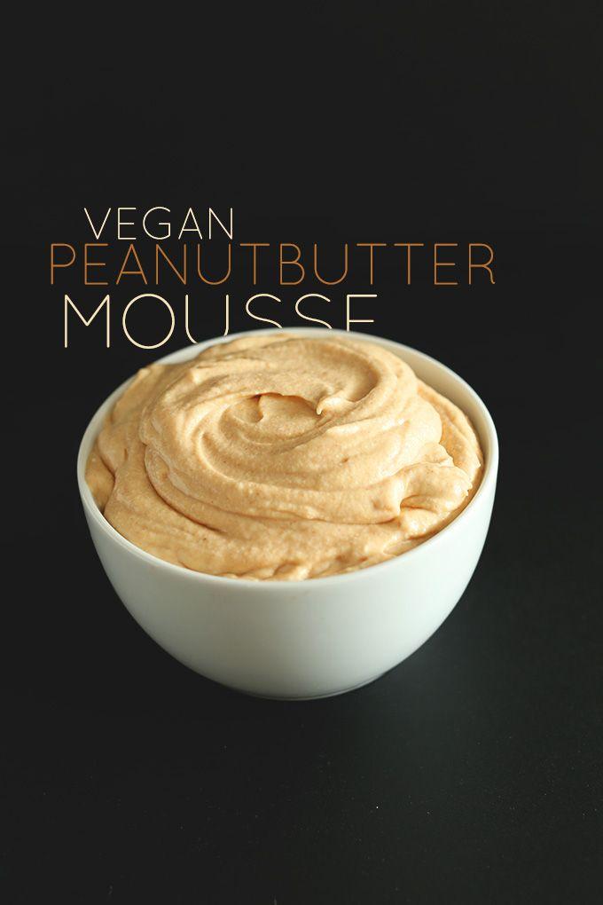 VEGAN PEANUT BUTTER MOUSSE | MINIMALISTBAKER.COM 3 ingredients - pnut butter, coconut milk/cream, sweetener of your choice