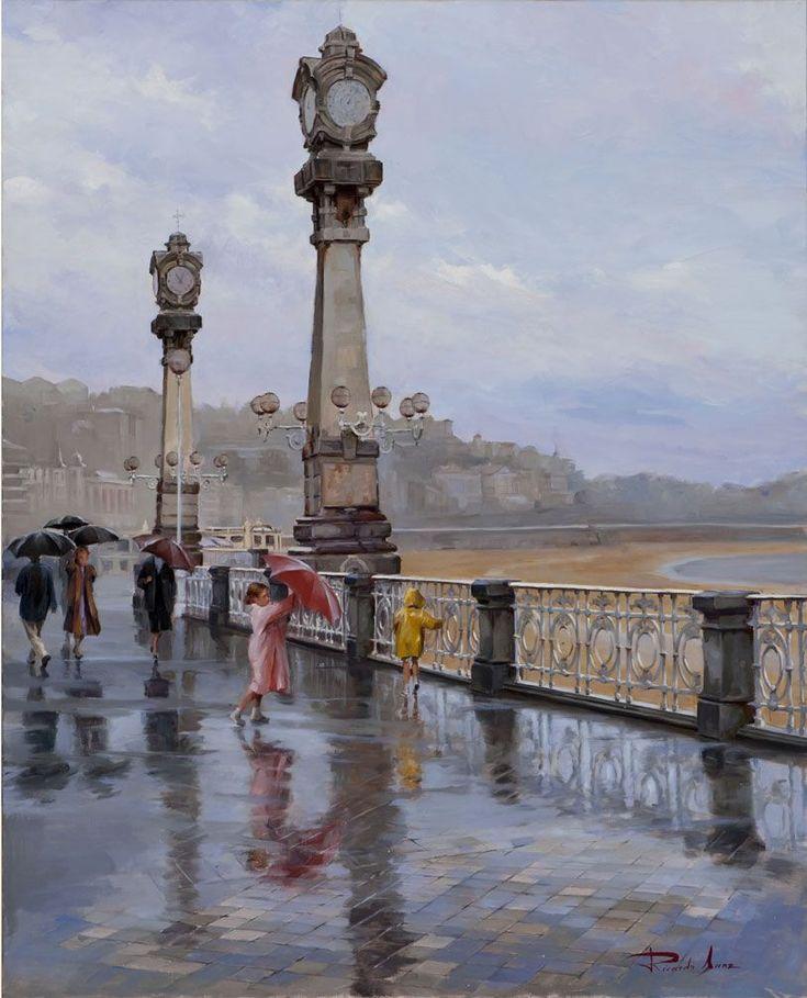Ricardo Sanz – Lluvia en los Relojes Óleo sobre lienzo. 100×81 cms.