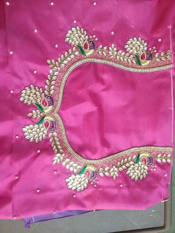 Peacock design with kundan and jardosi.. get it at http://mytailor.in/