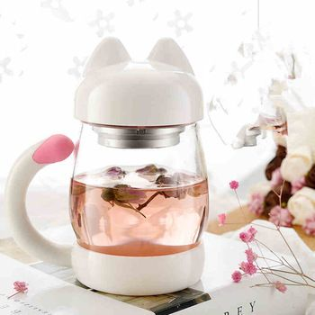 Cute Cat Water Cup Glass Tea Water Bottle Glass Bottle Silicone Sleeve Flower Tea Juice Cups Cute Portable Cups Glass Bottles