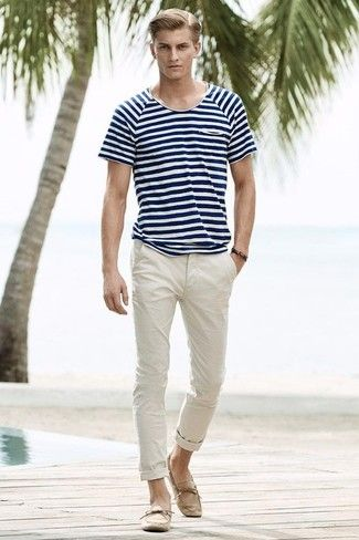 Men's Navy and White Horizontal Striped Crew-neck T-shirt, Beige Chinos, Beige Suede Driving Shoes, Dark Brown Bracelet