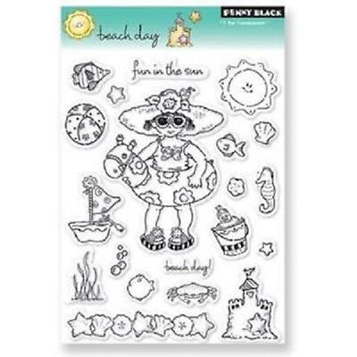 PENNY-BLACK-RUBBER-STAMPS-CLEAR-BEACH-DAY-FUN-SUMMER-SET
