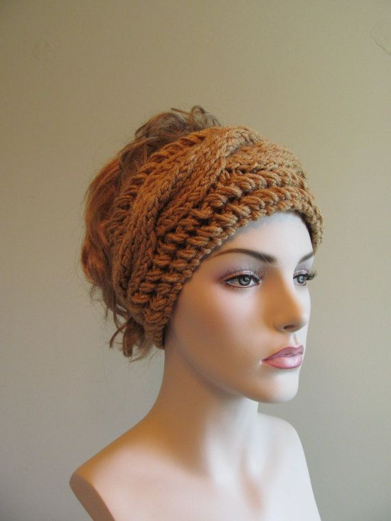 Knitted Cabled Headbands Earwarmers Chunky Brown Honey by ...