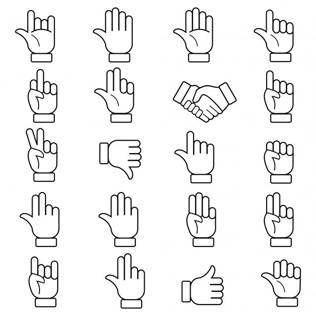 Hand Gestures And Sign Language Thin Line Icon Set Hand Gestures Line Hand Sign Isolated Vector Illustration Of Human Hands Hand Icons Line Icons Human Icons Human Icon Language Icon Line