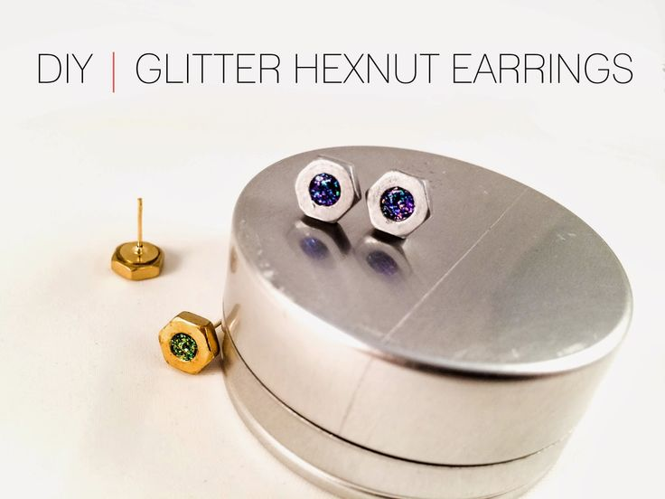 DIY | Glitter Hexnut Earrings http://cafecraftea.blogspot.com/2014/03/diy-glitter-hexnut-earrings.html