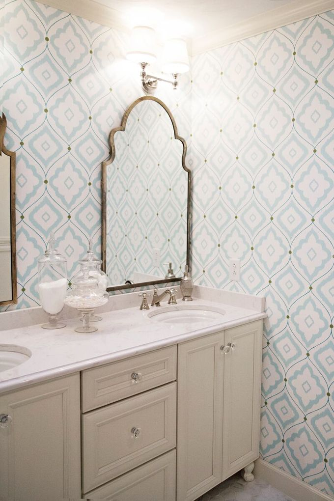 Love the mirrors & everything about this bathroom!