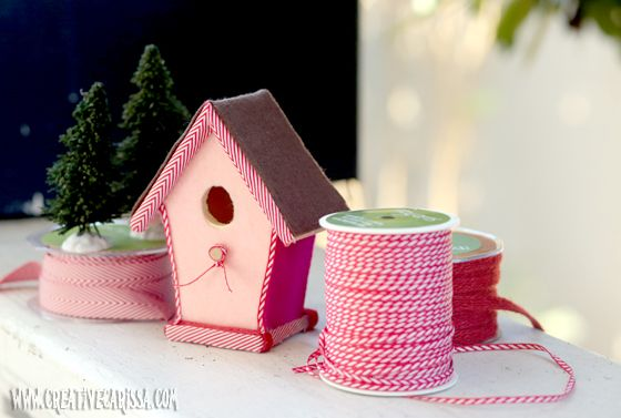 Make a Cute Christmas Birdhouse ~ Carissa's Creativity Space: Christmas Birdhouses, Ribbons, Creative Green, Sweet Birdhouses, Crafts Projects, Gingerbread House, Birds House, Valentine, Green Living