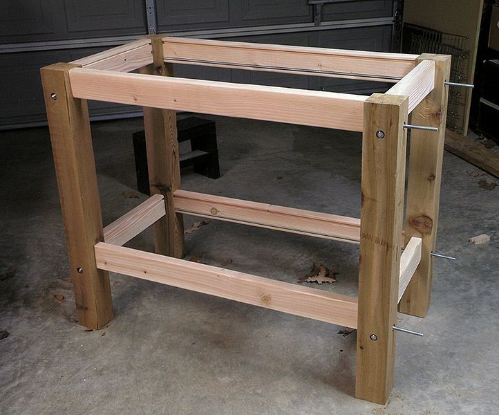 Karen, a relatively new woodworker, builds her workbench with the help of the forum and chat room!