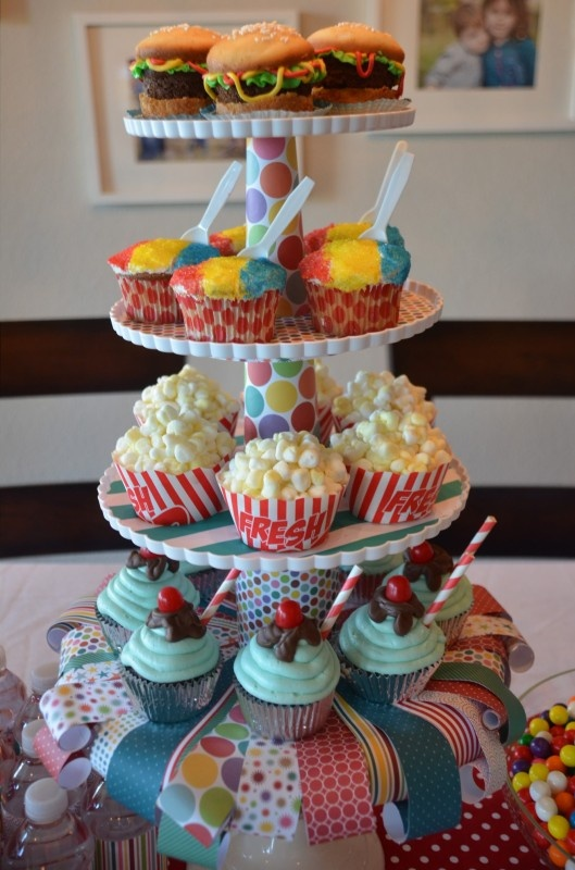 Carnival party cupcakes 2013.   Popcorn cupcakes , burger cupcakes and ice cream cupcakes