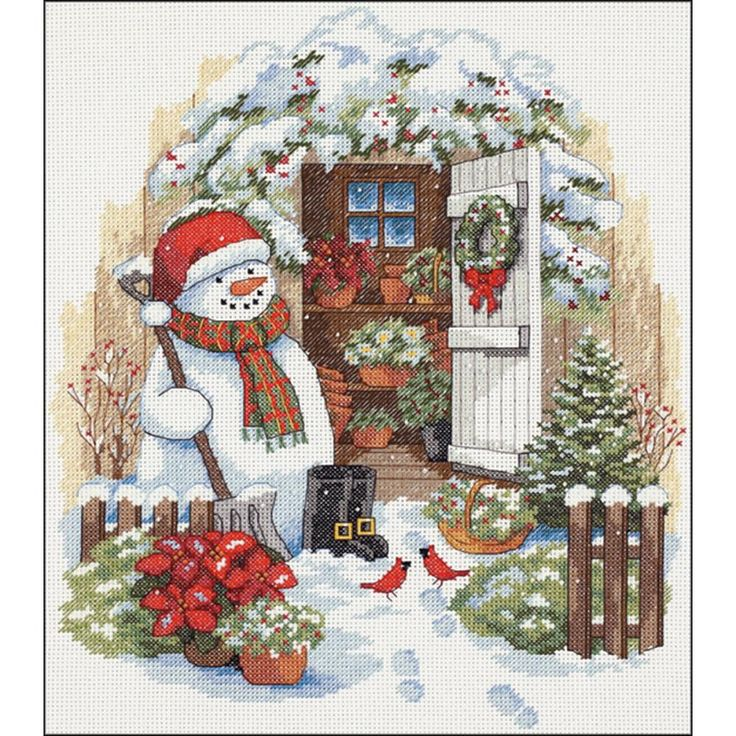 "Garden Shed Snowman Counted Cross Stitch Kit-12""X14"" 14 Count"