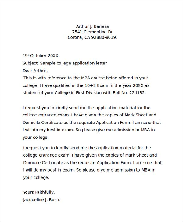 Sample College Application Letter Documents Pdf Word Best Free