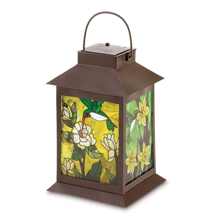 Tiffany Style Stained Glass Solar Powered Lantern Sun Light Metal Hummingbird #HomeLocomotion