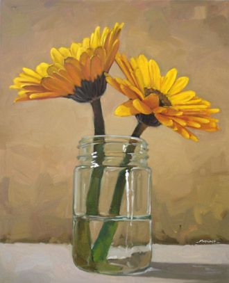 2 Yellow Flowers in a Jar by Carol Marine. I admire this artist and her work.