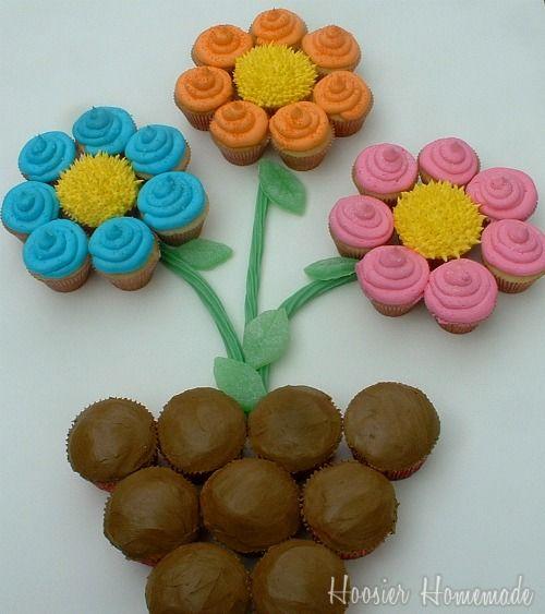 Cupcake Pull Apart Cake Flowerpot