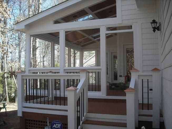 Black screened porch pro built construction deck for Shed roof screened porch plans