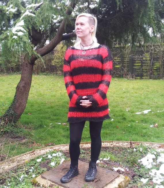 Hand Knitted Made To Order Lacy Openwork Mohair Sweater Dress Red & Black Freddy Krueger Stripes Goth Visual Kei / Kera