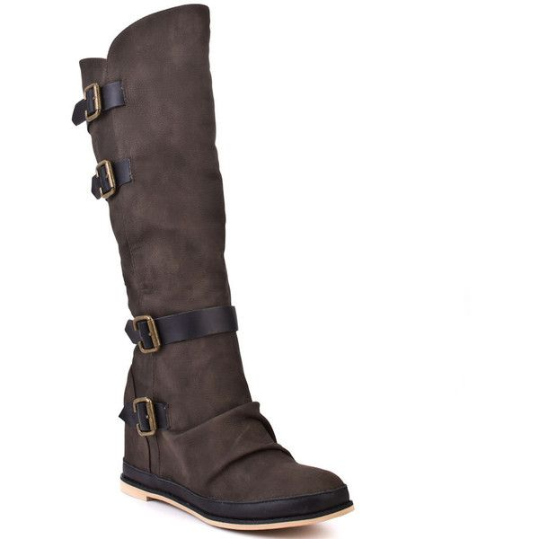 Eighty Twenty Women's Wade - Burnt ($115) ❤ liked on Polyvore featuring shoes, boots, wedges, burnt, brown wedge heel boots, wedge sole boots, brown wedge shoes, dark brown boots and brown high heel boots