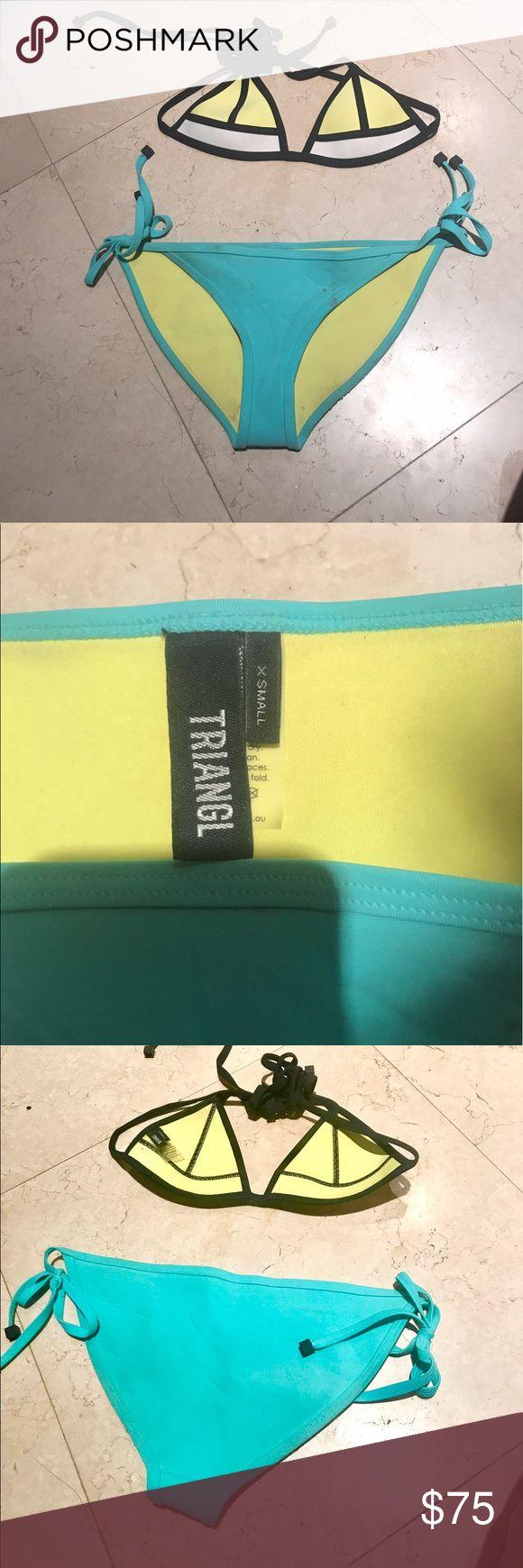 Triangl swimwear bikini set - XS Blue bottoms with yellow and white triangle top. Worn less than five times. Great condition! triangl swimwear Swim Bikinis