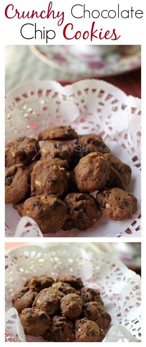 Crunchy Chocolate Chips Cookies just like Famous Amos. Try this easy and amazing recipe | rasamalaysia.com