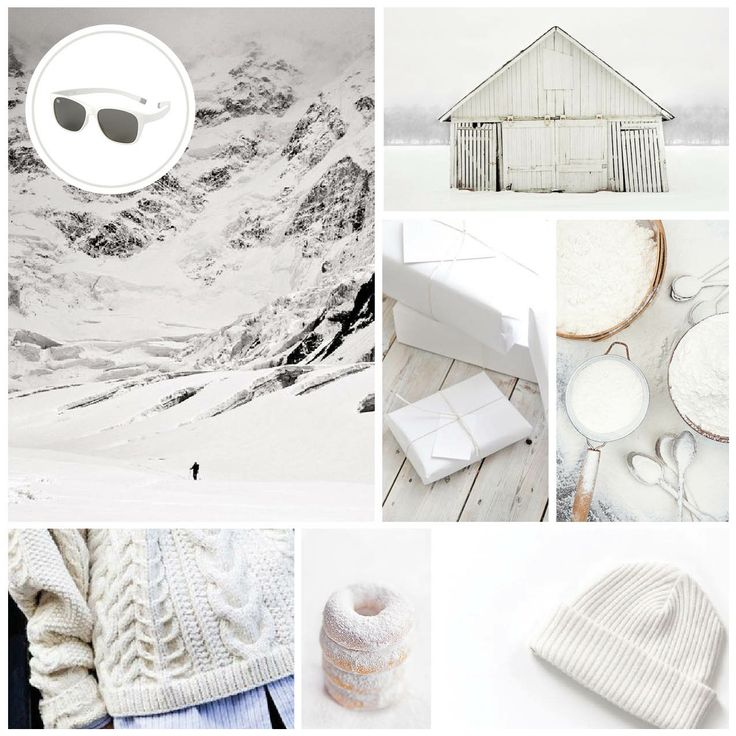 MONDAY MOODBOARD; SURPRISINGLY WHITE. Start your week with color inspiration! In this weekly Monday Moodboard it's all about white. Focus: White Christmas. Ice-Watch Eyewear model: Pulse - white