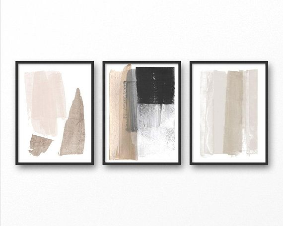 Neutral Minimalist Painting Set Of 3 Modern Abstract Prints Etsy Scandinavian Art Print Neutral Wall Art Minimalist Prints