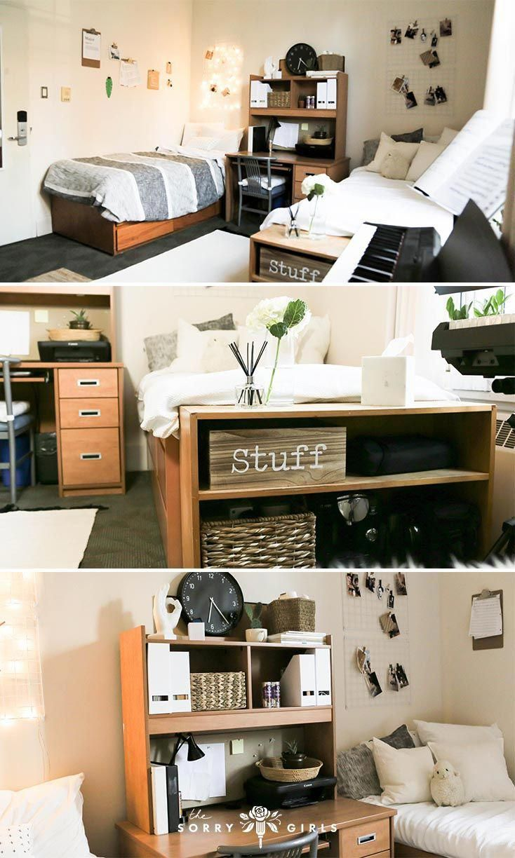Love This Minimalist Dorm Room Makeover Click Through For More Details Follow For More Diy Minimal Dorm Minimalist Dorm Dorm Room Decor Dorm Room Hacks